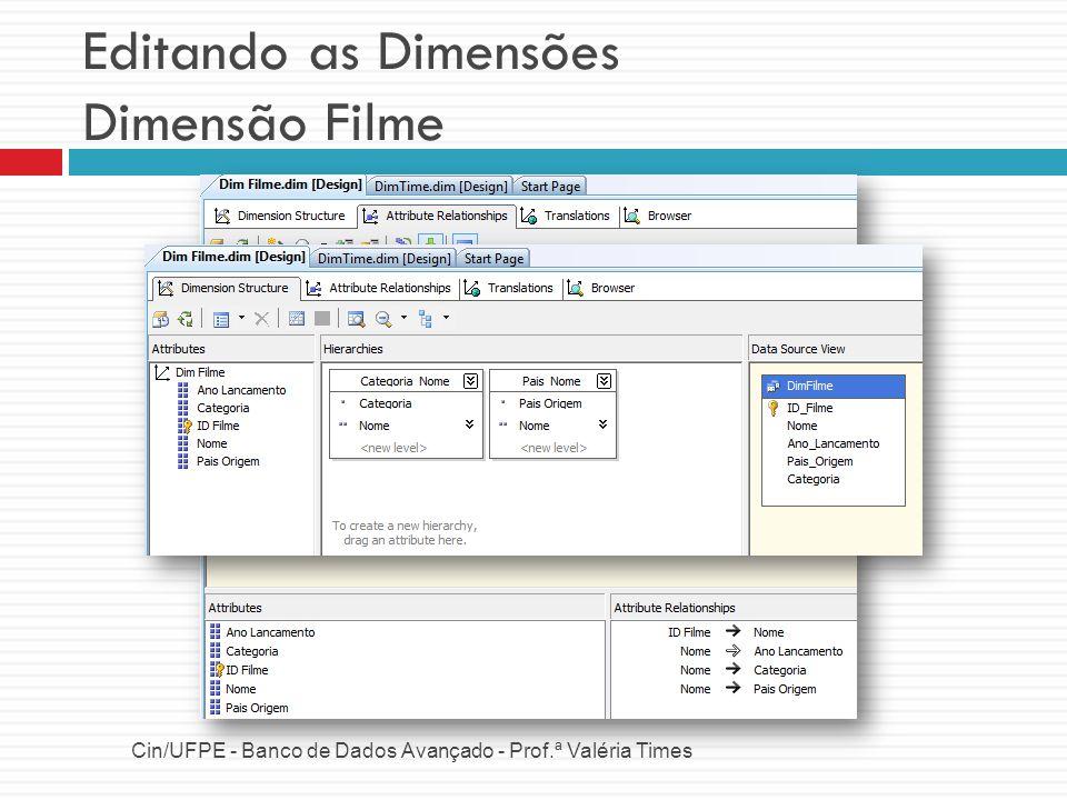 Editando as Dimensões Dimensão Filme