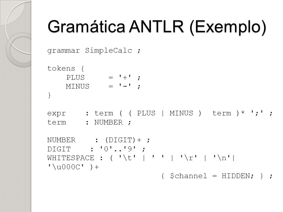 Gramática ANTLR (Exemplo)