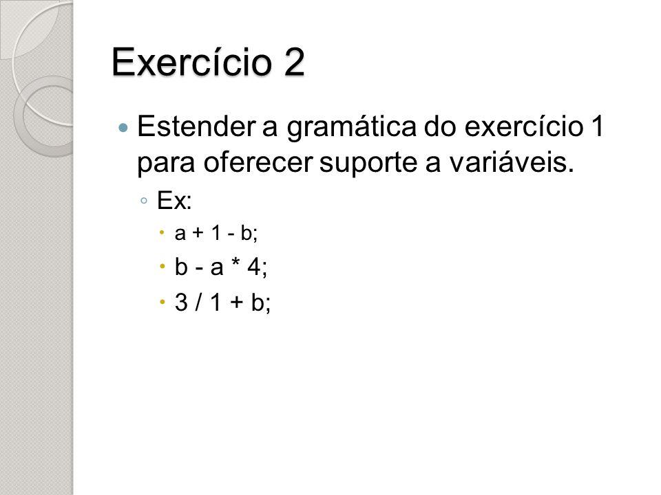 Exercício 2 Estender a gramática do exercício 1 para oferecer suporte a variáveis. Ex: a + 1 - b;