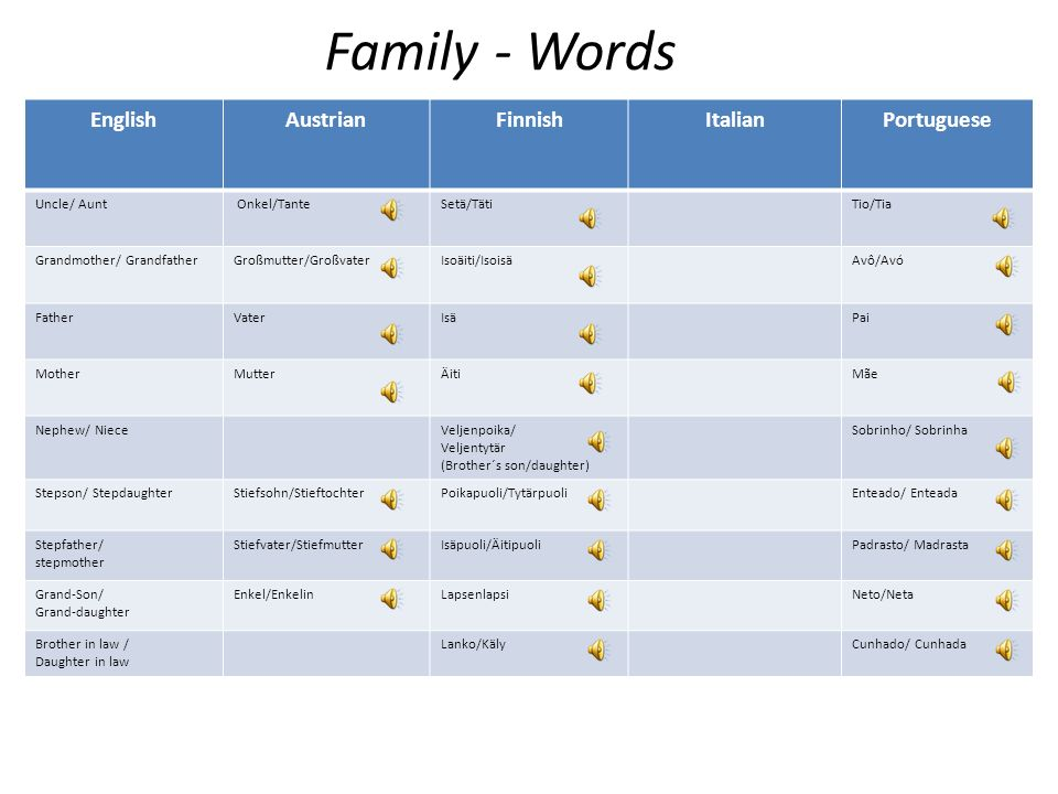 Family - Words English Austrian Finnish Italian Portuguese Uncle/ Aunt