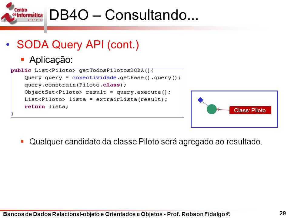 DB4O – Consultando... SODA Query API (cont.) Aplicação: