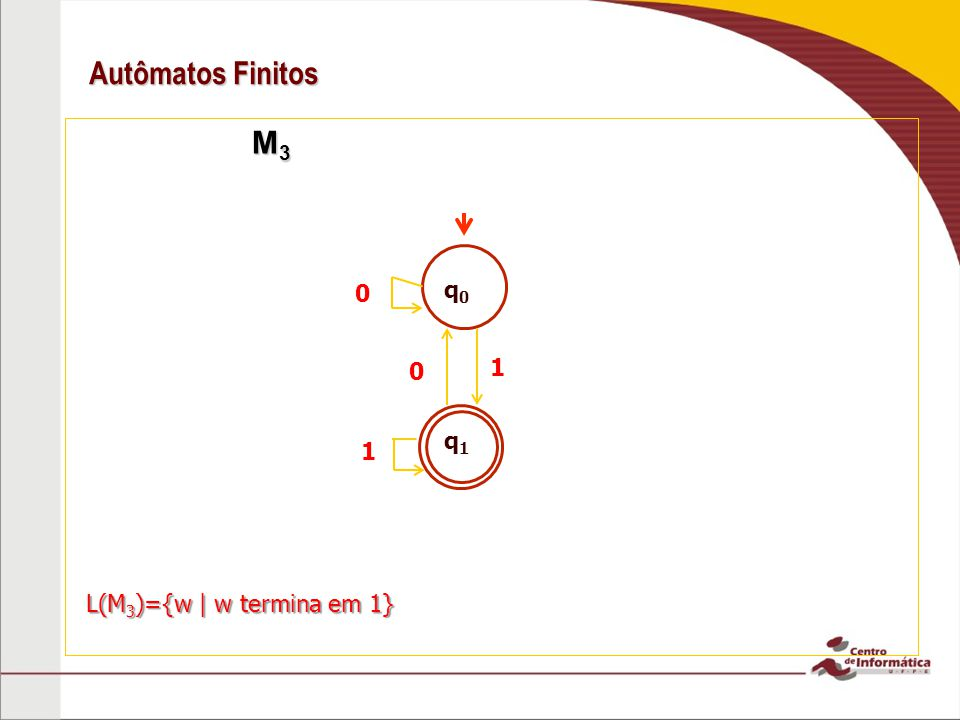 Autômatos Finitos M3 q0 1 q1 1 L(M3)={w | w termina em 1}