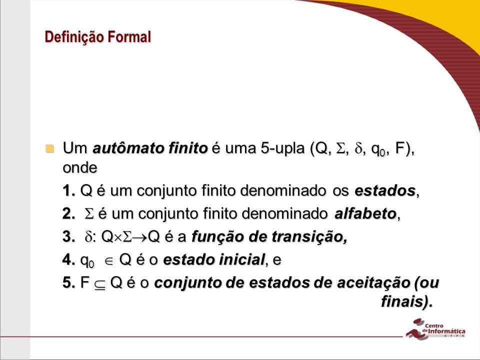 Definição Formal Um autômato finito é uma 5-upla (Q, , , q0, F), onde. 1. Q é um conjunto finito denominado os estados,
