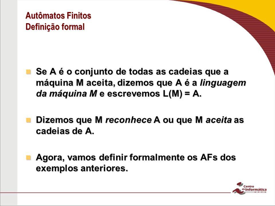Autômatos Finitos Definição formal