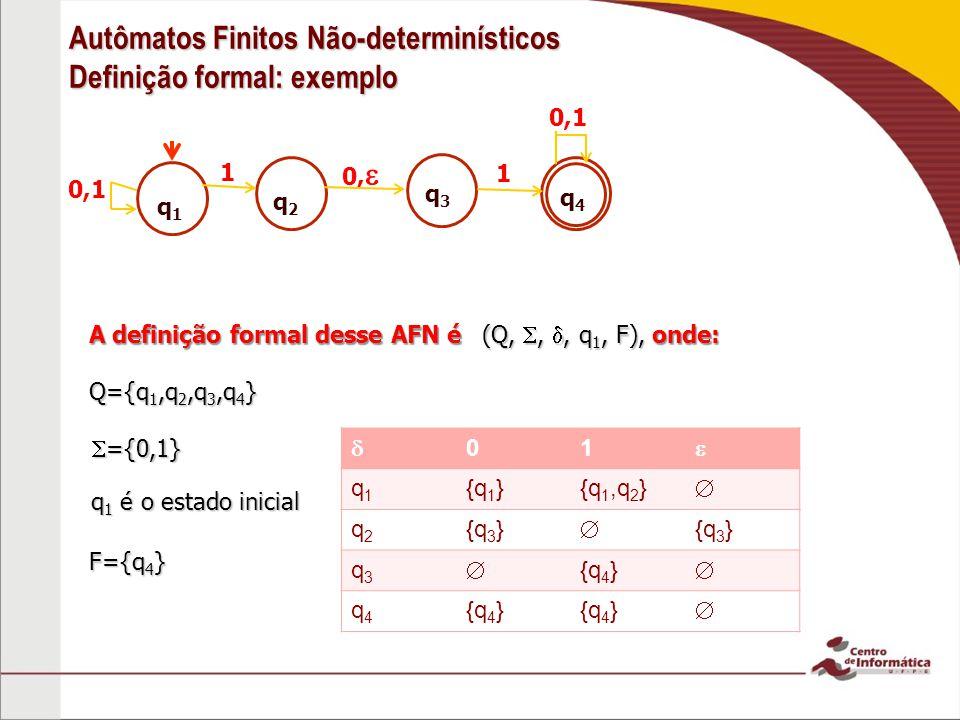 Autômatos Finitos Não-determinísticos Definição formal: exemplo