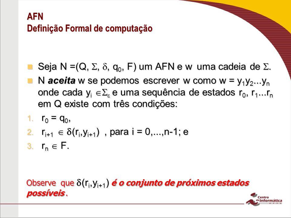 AFN Definição Formal de computação