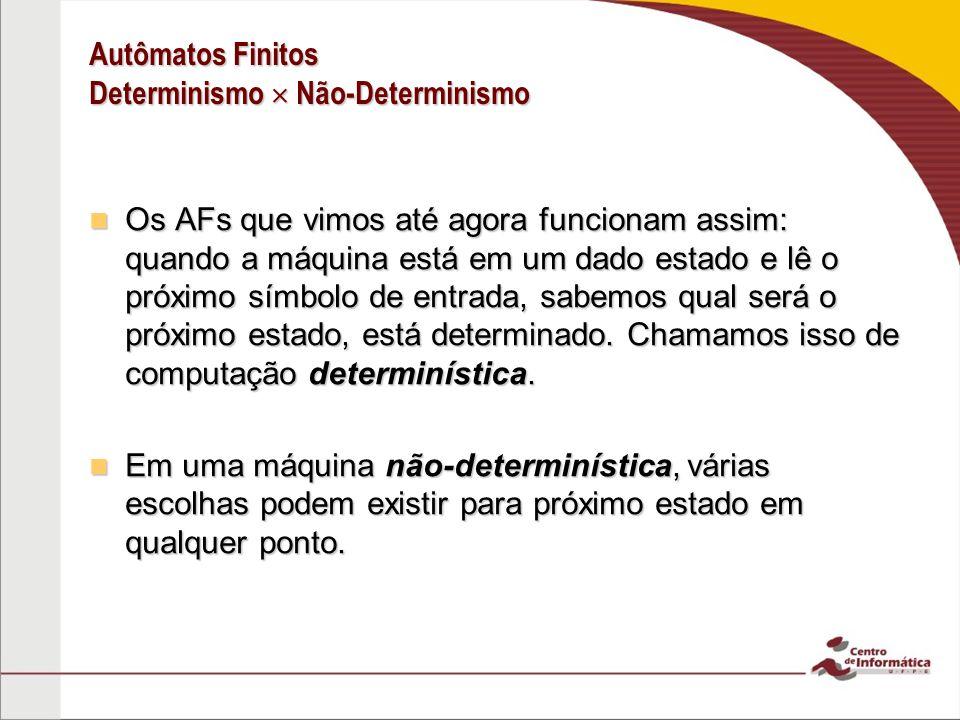 Autômatos Finitos Determinismo  Não-Determinismo