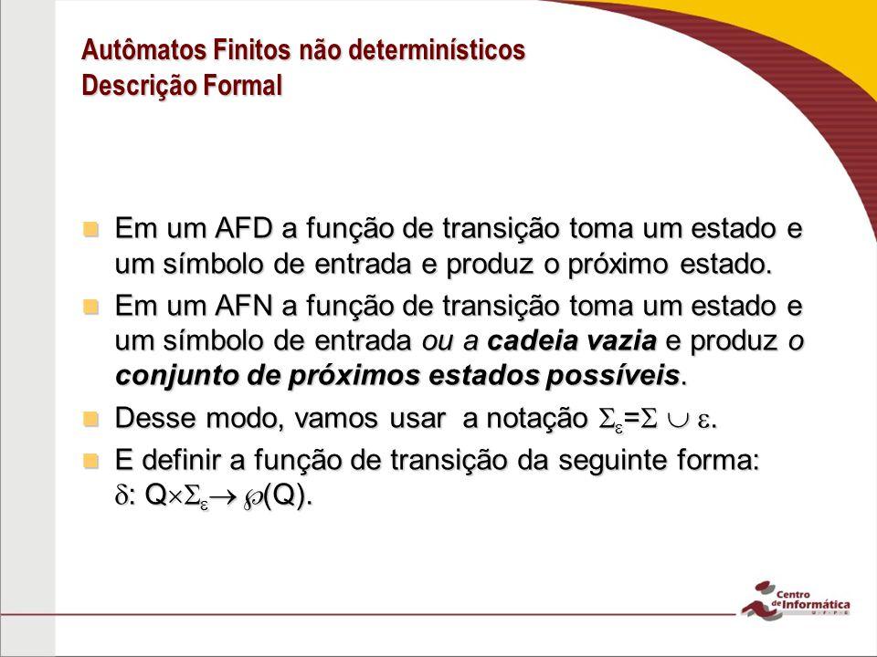 Autômatos Finitos não determinísticos Descrição Formal