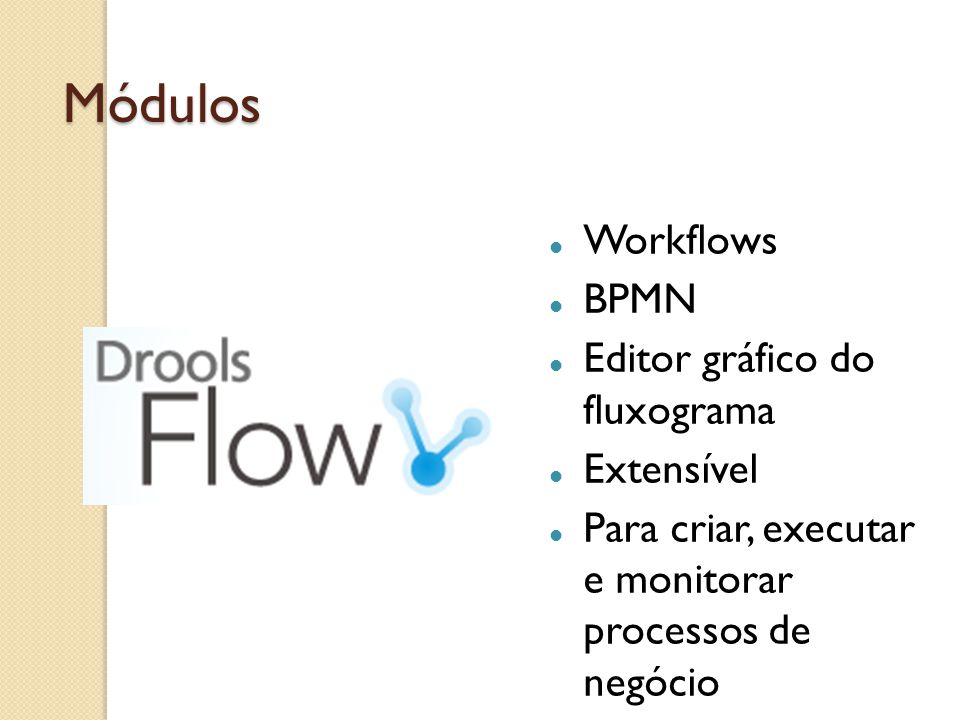Módulos Workflows BPMN Editor gráfico do fluxograma Extensível