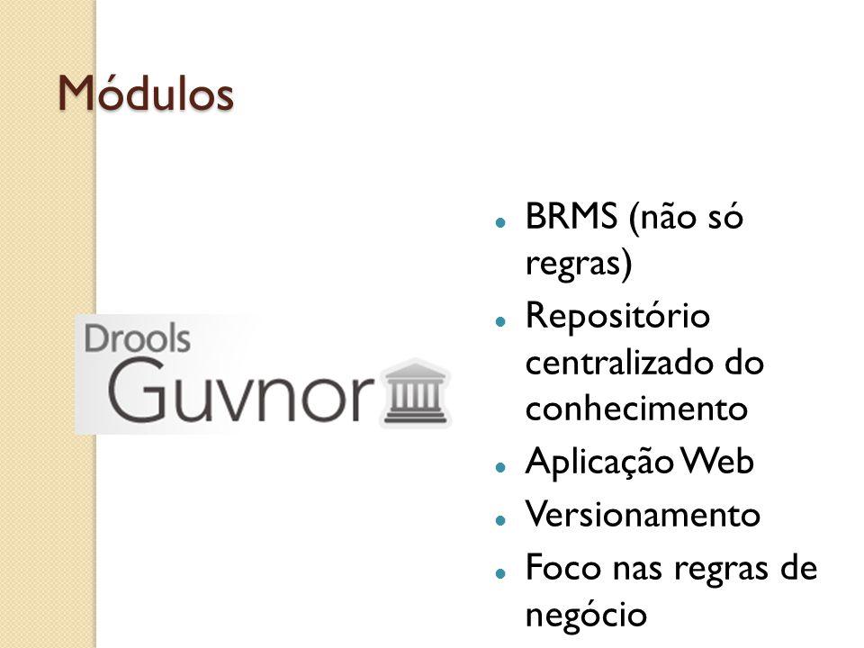 Módulos BRMS (não só regras) Repositório centralizado do conhecimento