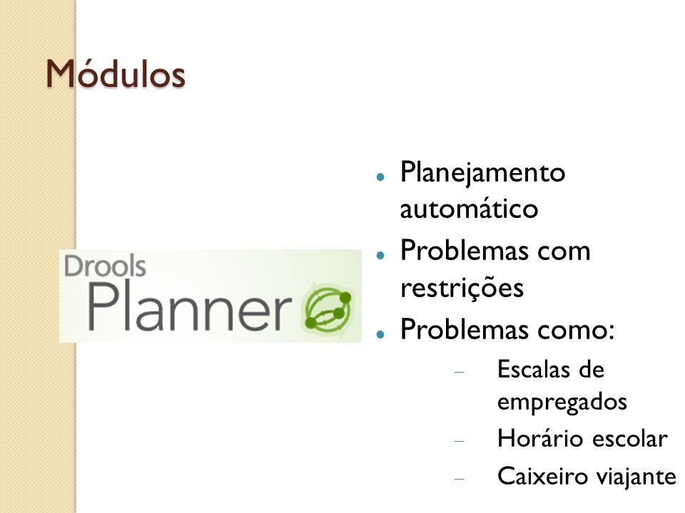Módulos Planejamento automático Problemas com restrições