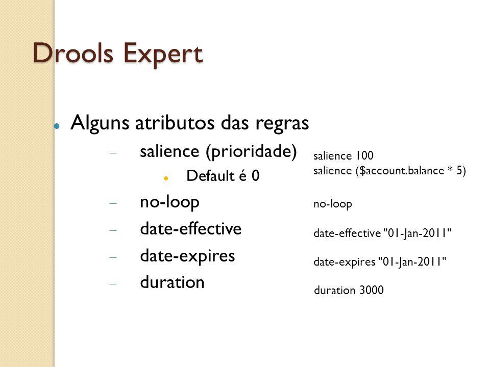 Drools Expert Alguns atributos das regras salience (prioridade)
