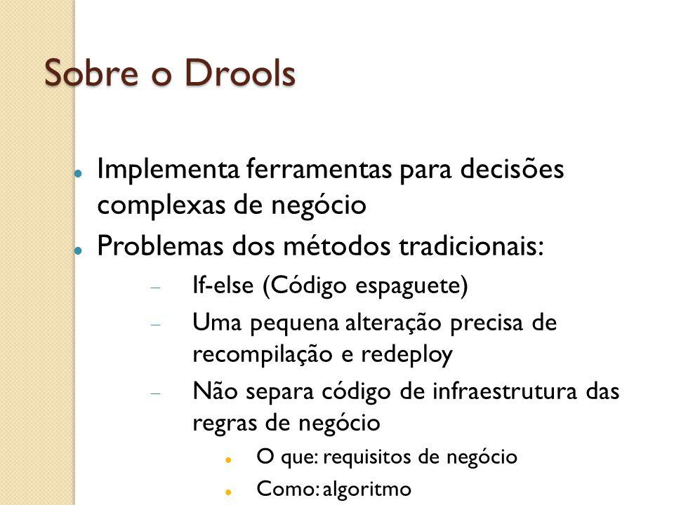 Sobre o Drools Implementa ferramentas para decisões complexas de negócio. Problemas dos métodos tradicionais: