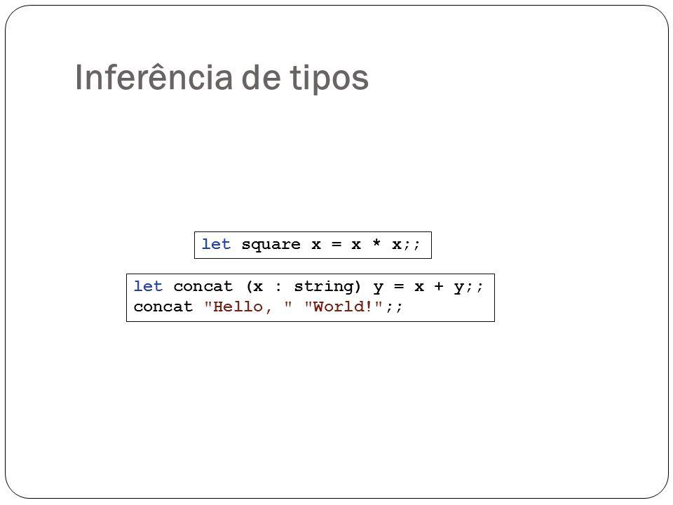 Inferência de tipos let square x = x * x;;