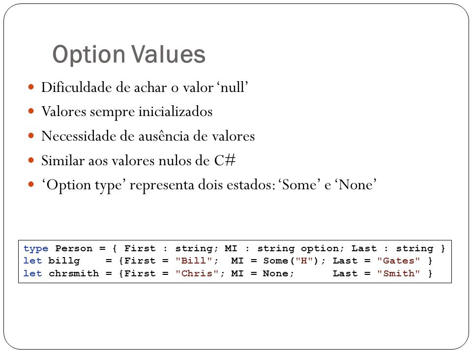 Option Values Dificuldade de achar o valor 'null'