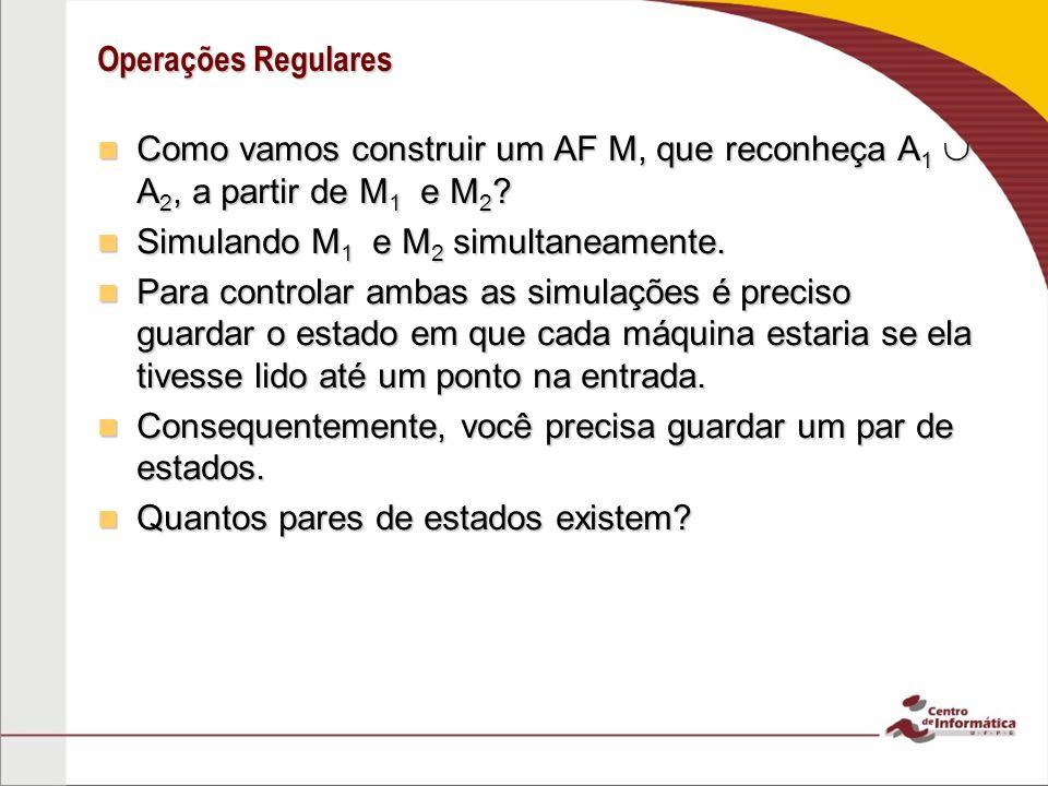 Operações Regulares Como vamos construir um AF M, que reconheça A1  A2, a partir de M1 e M2 Simulando M1 e M2 simultaneamente.
