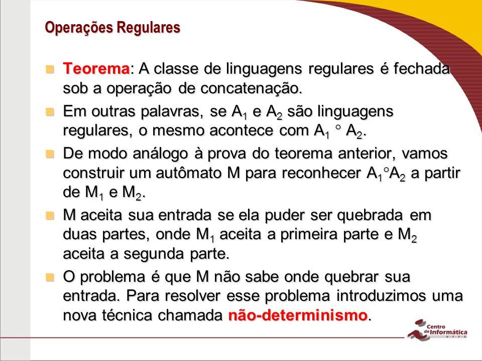Operações Regulares Teorema: A classe de linguagens regulares é fechada sob a operação de concatenação.