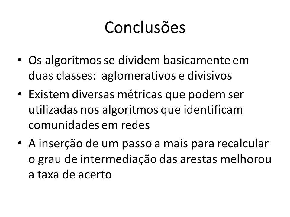 Conclusões Os algoritmos se dividem basicamente em duas classes: aglomerativos e divisivos.