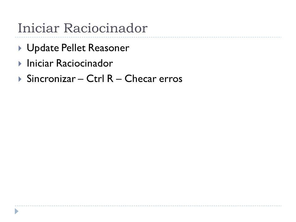 Iniciar Raciocinador Update Pellet Reasoner Iniciar Raciocinador