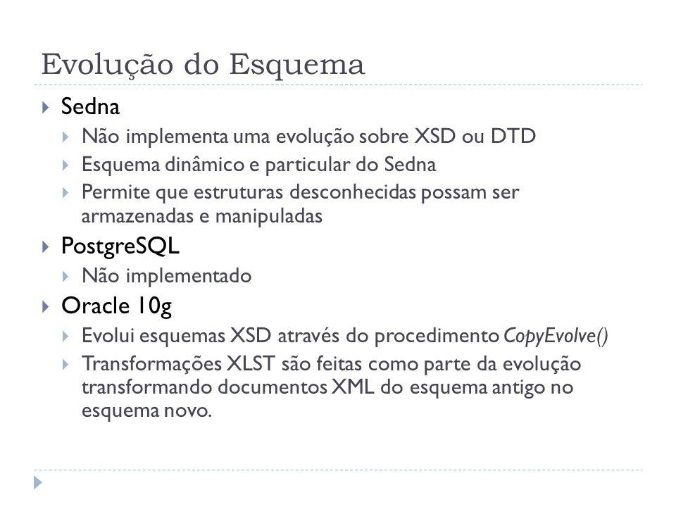 Evolução do Esquema Sedna PostgreSQL Oracle 10g