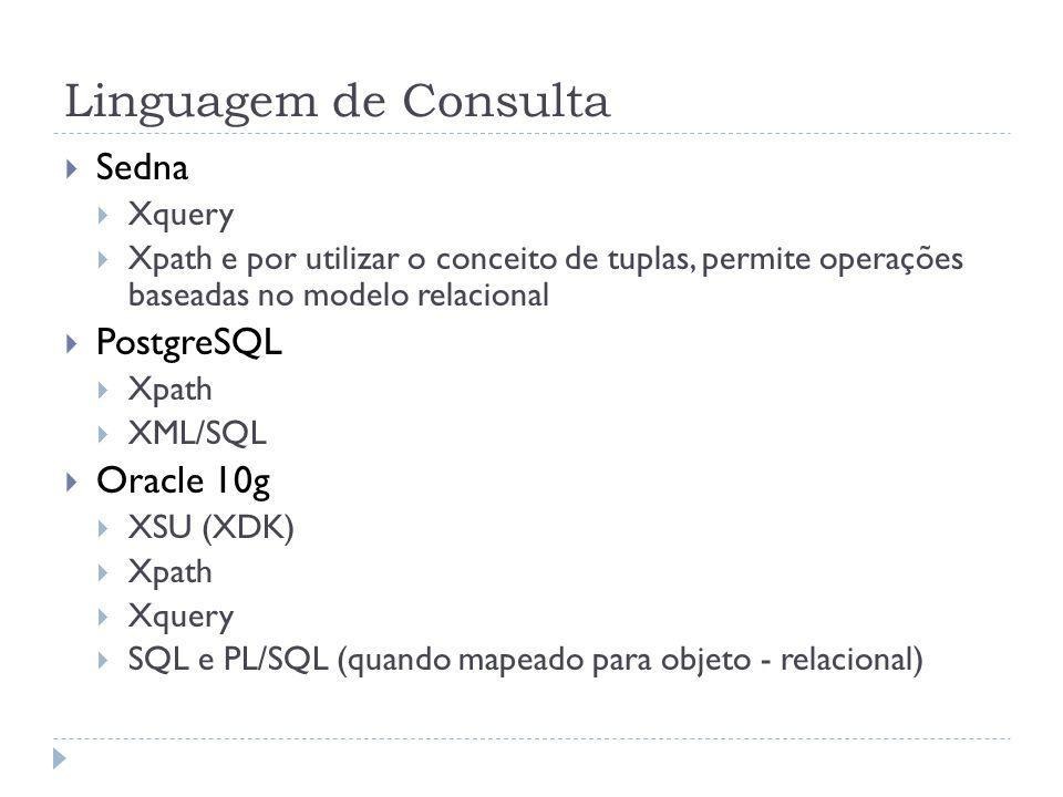 Linguagem de Consulta Sedna PostgreSQL Oracle 10g Xquery