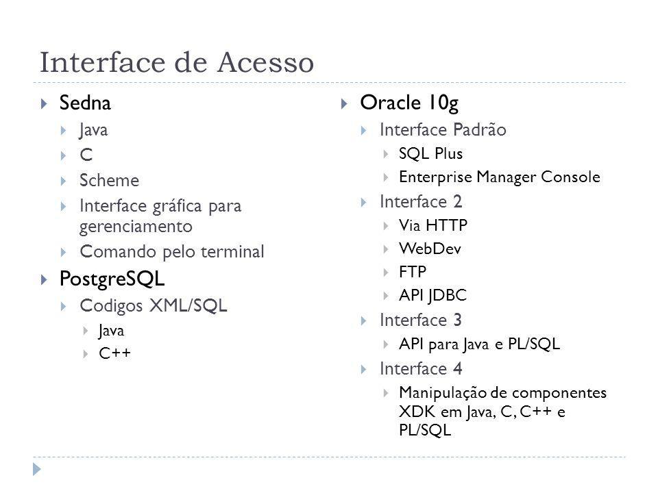 Interface de Acesso Sedna Oracle 10g PostgreSQL Java Interface Padrão