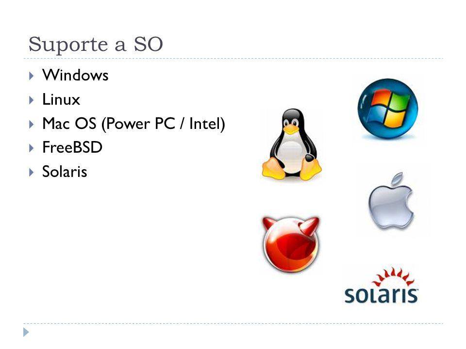 Suporte a SO Windows Linux Mac OS (Power PC / Intel) FreeBSD Solaris