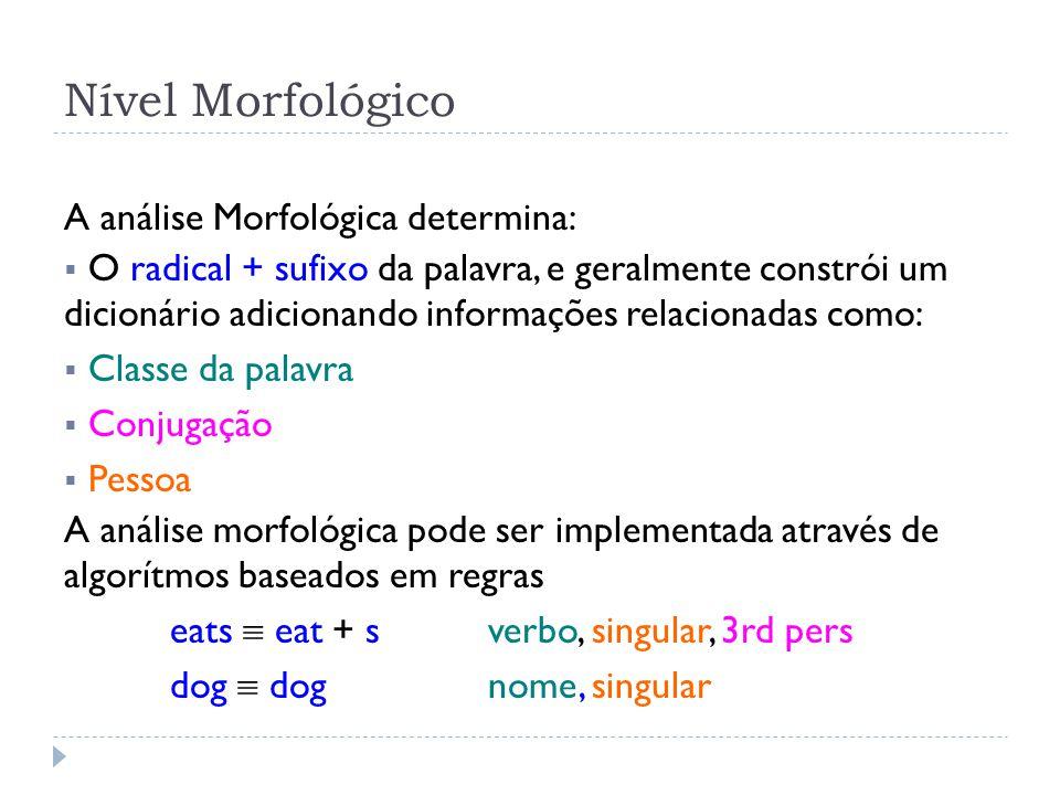 Nível Morfológico A análise Morfológica determina: