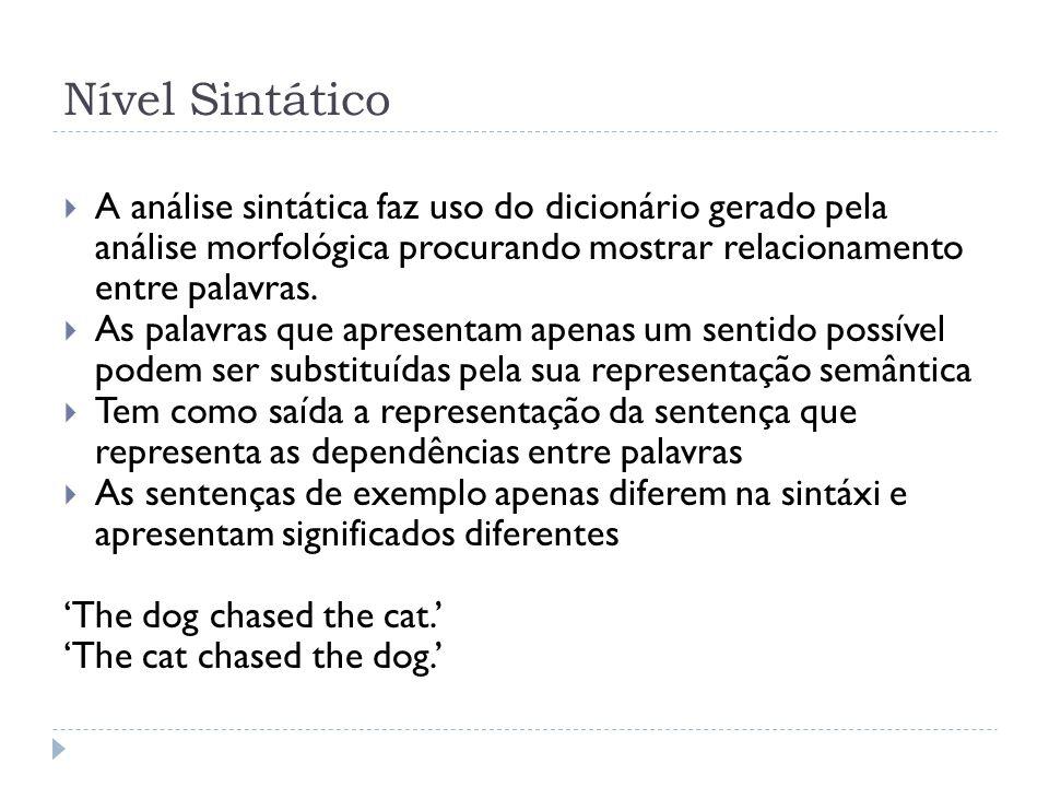 Nível Sintático A análise sintática faz uso do dicionário gerado pela análise morfológica procurando mostrar relacionamento entre palavras.