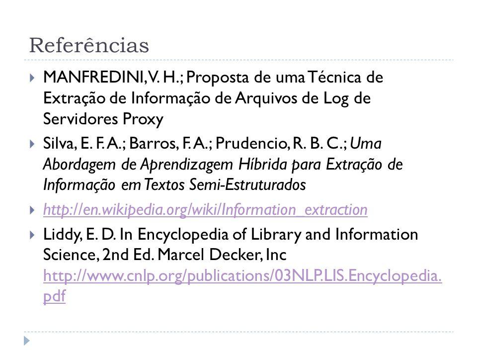 Referências MANFREDINI, V. H.; Proposta de uma Técnica de Extração de Informação de Arquivos de Log de Servidores Proxy.