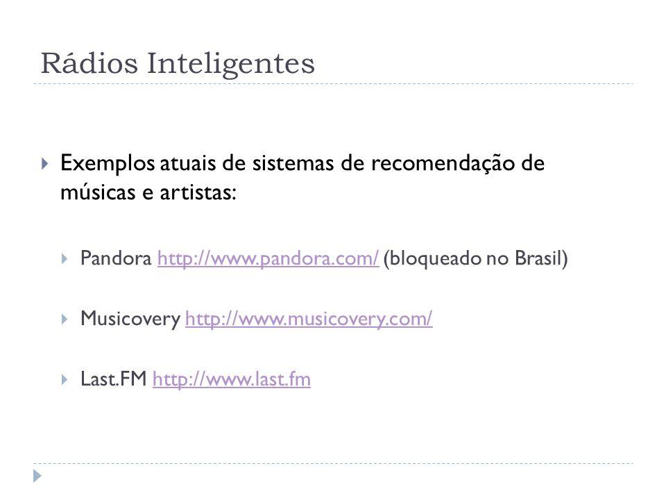 Rádios Inteligentes Exemplos atuais de sistemas de recomendação de músicas e artistas: Pandora http://www.pandora.com/ (bloqueado no Brasil)