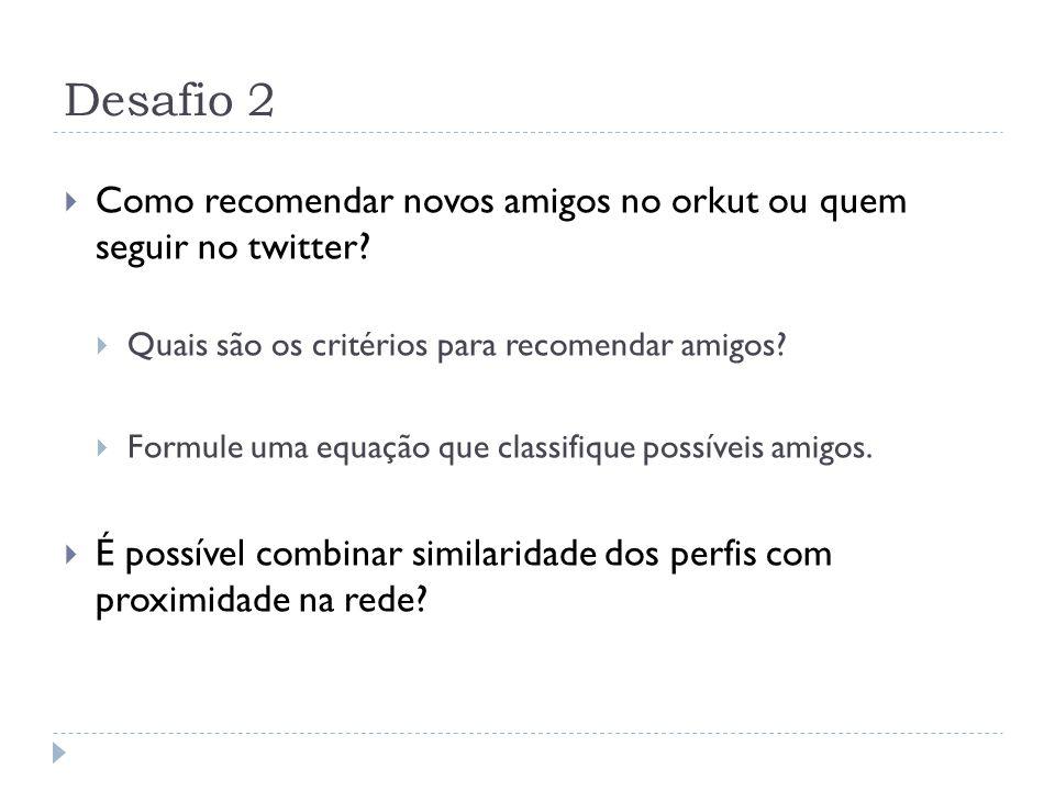 Desafio 2 Como recomendar novos amigos no orkut ou quem seguir no twitter Quais são os critérios para recomendar amigos