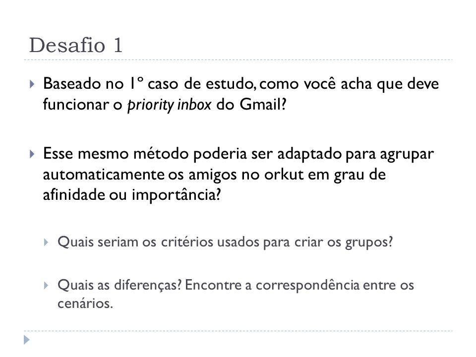 Desafio 1 Baseado no 1º caso de estudo, como você acha que deve funcionar o priority inbox do Gmail