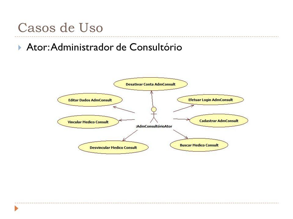 Casos de Uso Ator: Administrador de Consultório