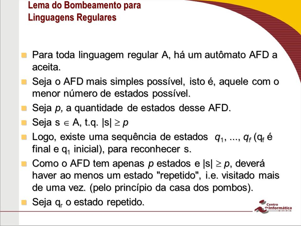 Lema do Bombeamento para Linguagens Regulares