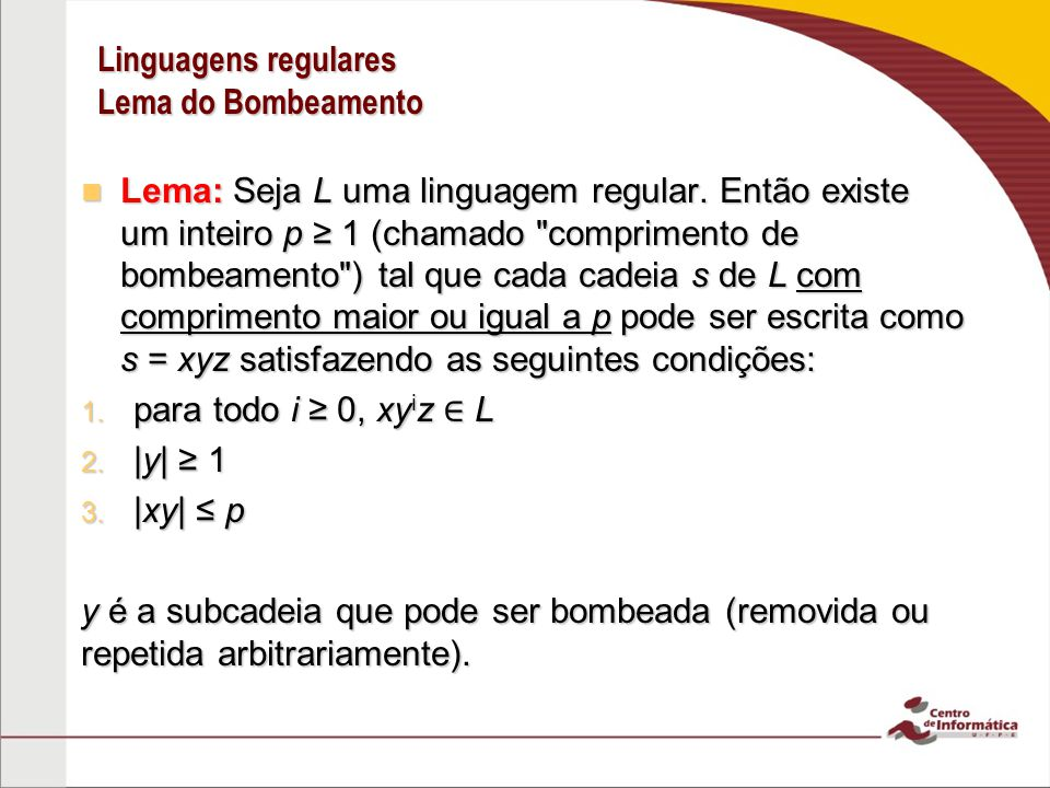 Linguagens regulares Lema do Bombeamento