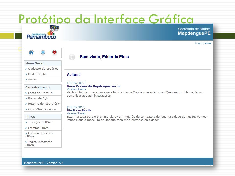 Protótipo da Interface Gráfica