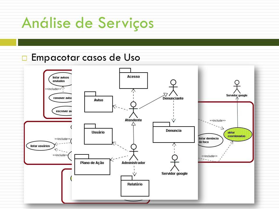 Análise de Serviços Empacotar casos de Uso