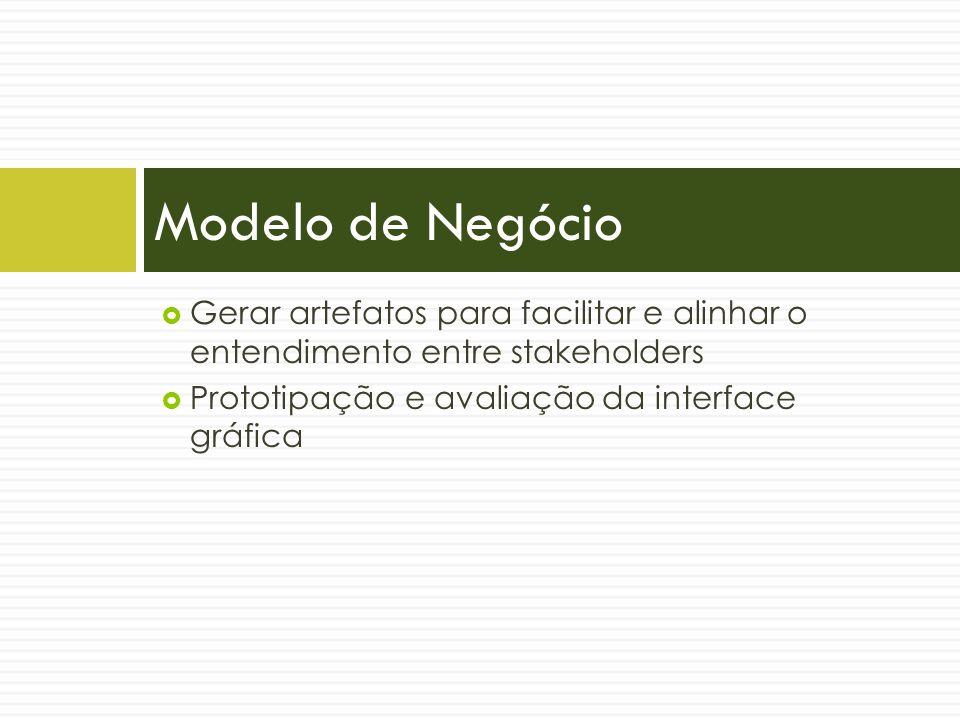 Modelo de Negócio Gerar artefatos para facilitar e alinhar o entendimento entre stakeholders.