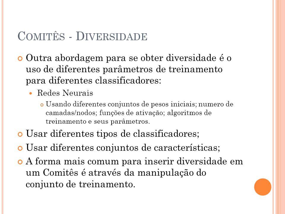 Comitês - Diversidade Outra abordagem para se obter diversidade é o uso de diferentes parâmetros de treinamento para diferentes classificadores: