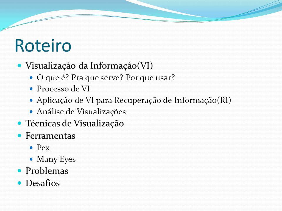 Roteiro Visualização da Informação(VI) Técnicas de Visualização