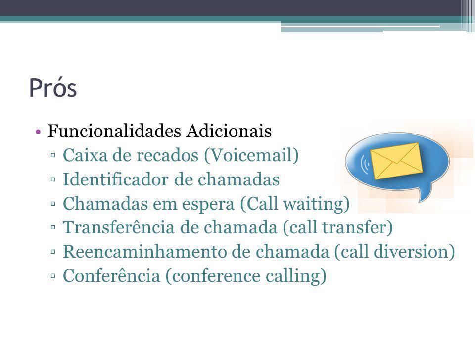 Prós Funcionalidades Adicionais Caixa de recados (Voicemail)