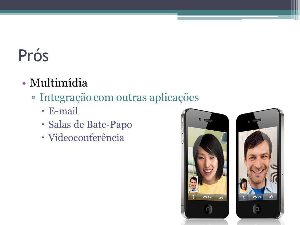 Prós Multimídia Integração com outras aplicações E-mail