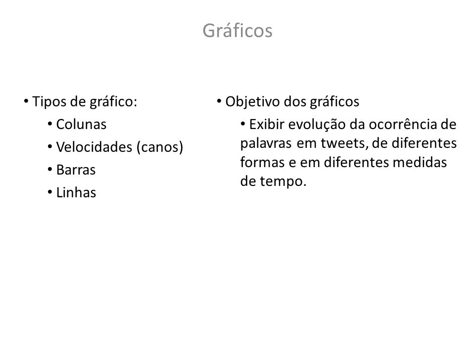 Gráficos Tipos de gráfico: Colunas Velocidades (canos) Barras Linhas