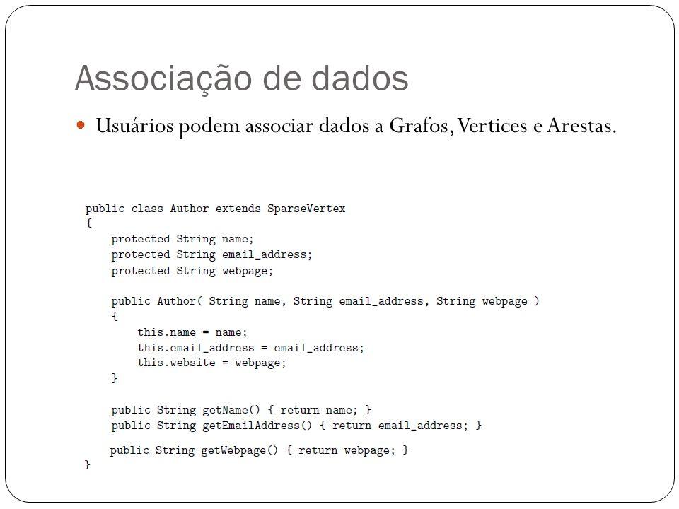 Associação de dados Usuários podem associar dados a Grafos, Vertices e Arestas.