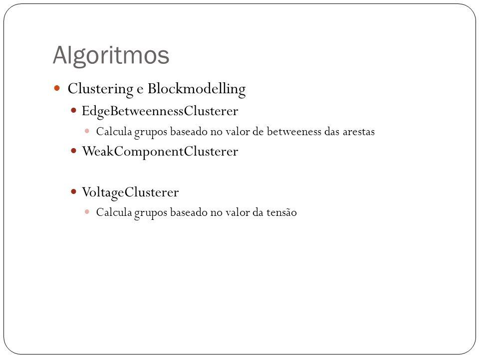 Algoritmos Clustering e Blockmodelling EdgeBetweennessClusterer