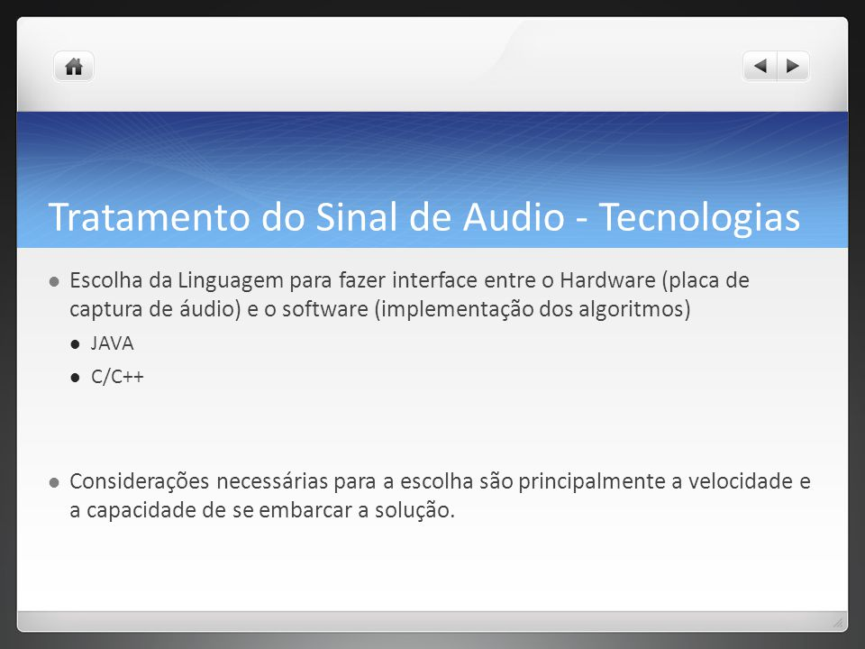 Tratamento do Sinal de Audio - Tecnologias