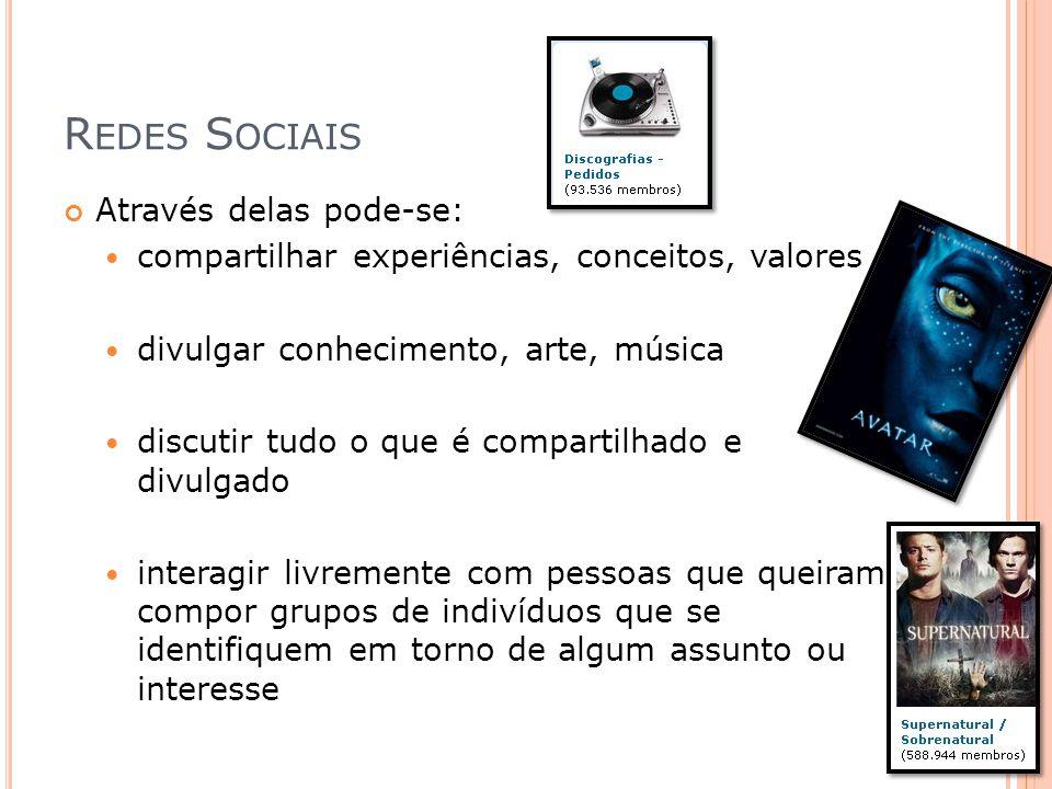 Redes Sociais Através delas pode-se: