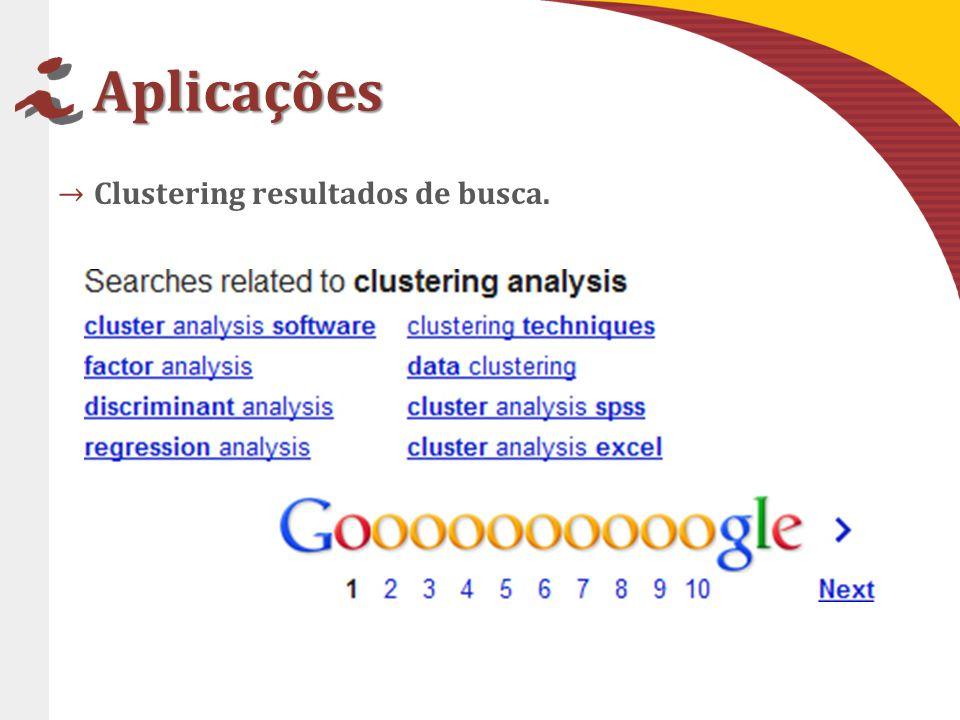 Aplicações Clustering resultados de busca.