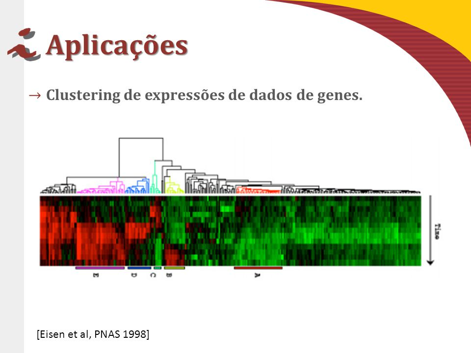 Aplicações Clustering de expressões de dados de genes.